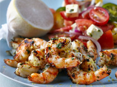 Herb Crusted Prawns with Tomato, Feta and Basil