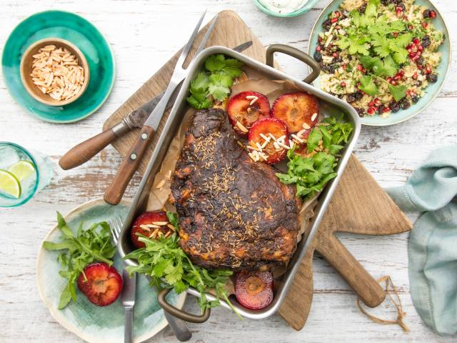 Moroccan Spiced Lamb Leg with Plums