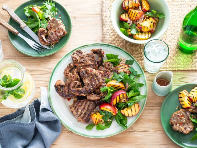 Grilled Lamb Loin Chops with Peach Salad