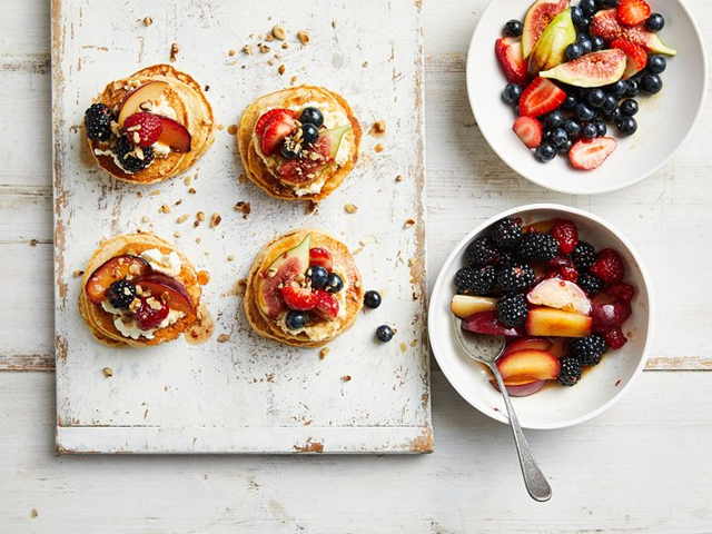 ANZAC Pancakes with Fruit Topping