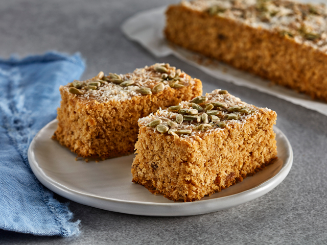 Oat Flour Seeded Apricot Slice