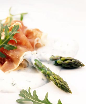 Fresh Asparagus and Parma Ham with Herby Yoghurt Dressing