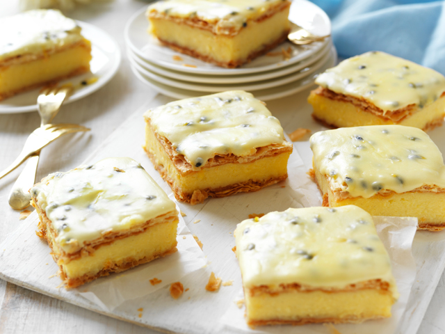 Classic Vanilla Slice with Passionfruit Icing