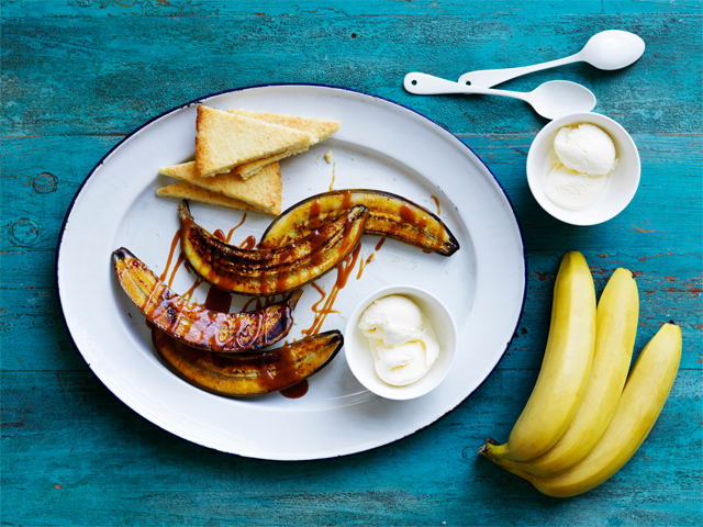 BBQ Bananas with Caramel Rum Sauce & Coconut Shortbread