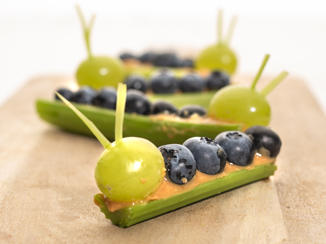 Peanut Butter, Blueberry and Celery Caterpillar