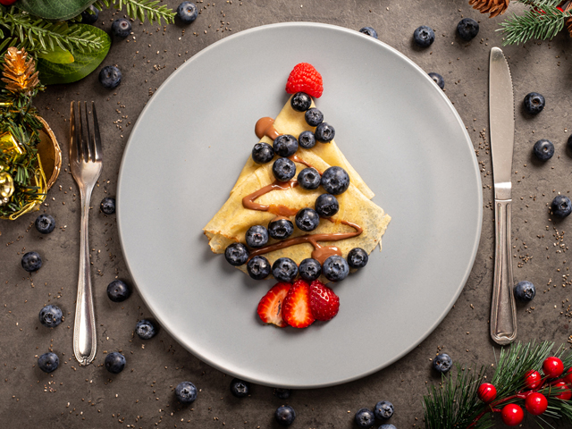 Pancake Blueberry Christmas Tree