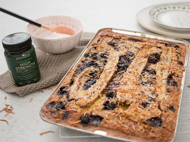 Baked Lupin Blueberry Breakfast Slice with Gut-Loving Coconut Yoghurt