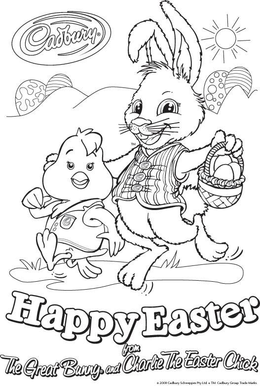 Cadbury Easter Rabbit & Chick Colouring Page