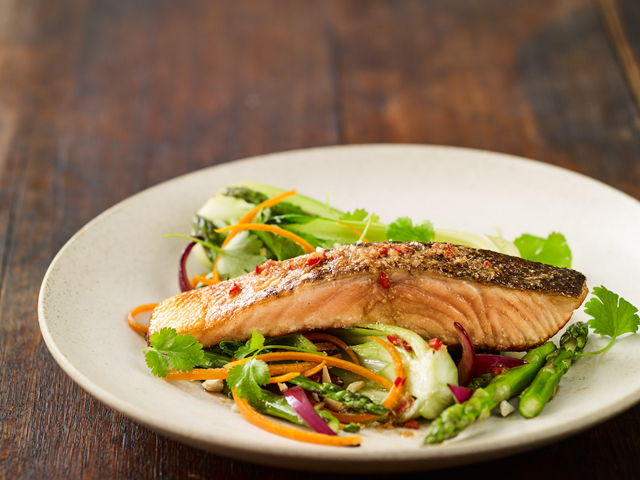 Crispy Salmon with Asian Vegetables