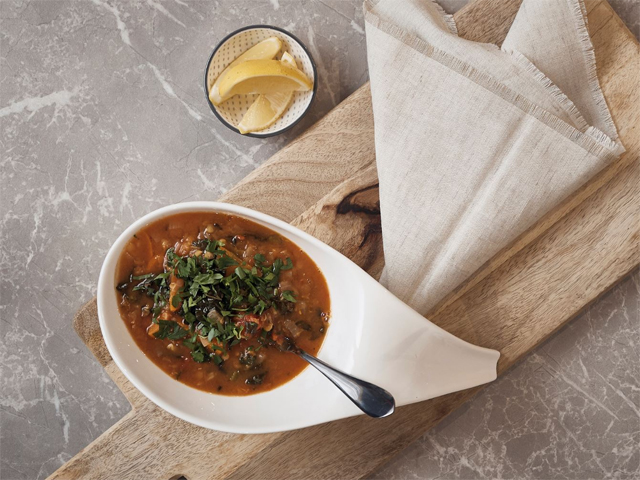 Chunky Red Lentil, Kale and Tomato Soup