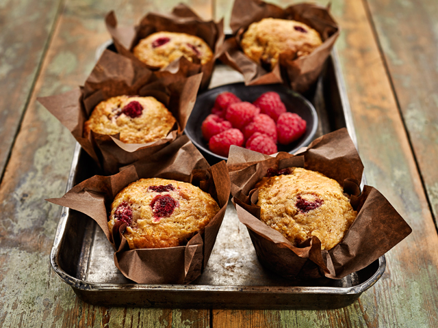 Banana Raspberry Coconut Muffins