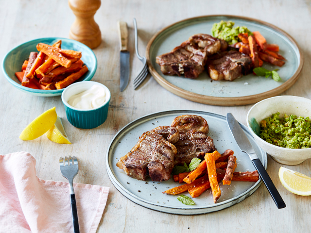 BBQ Chops with Pea and Mint Pesto and Kumara Chips