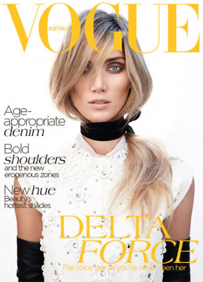 Napoleon Perdis and Delta Goodrem for Vogue