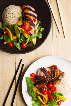 Duck, Mango and Snow Pea Salad with Hoisin Dressing and Sesame Rice