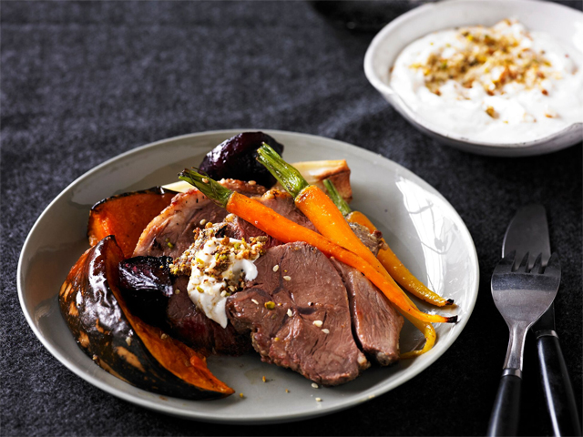 Dukkah Lamb with Roasted Vegetables and Tahini