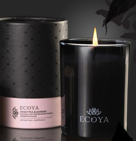 Burn Greener, Cleaner Ecoya natural soy wax candles