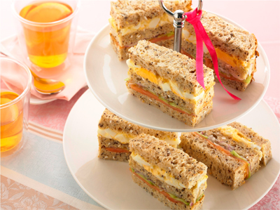 Egg, Smoked Salmon and Cucumber Double Decker Sandwiches