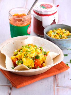 Scrambled Egg, Spicy Stewed Tomatoes, Sweet Corn and Spring Onion Tortilla