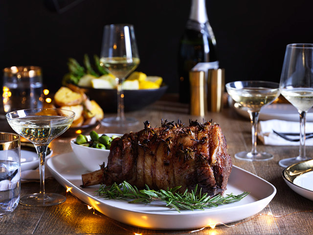 Roast Lamb with Olive Sauce