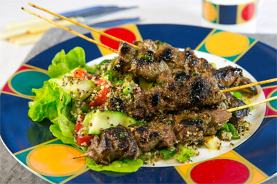 Gourmet Garden Peruvian Garlic and Thyme Marinated Lamb Skewers on Quinoa Salad