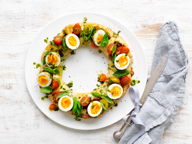 Herbed Ricotta Pastry Wreath with Pesto Eggs