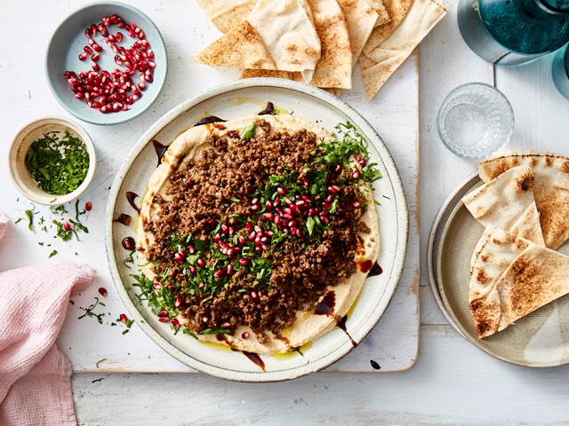 Hummus with Spiced Lamb, Pomegranate and Mint