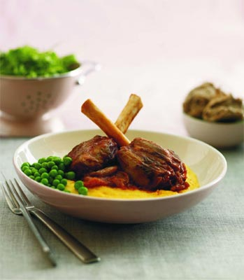 Lamb Shanks with Soft Polenta and Peas