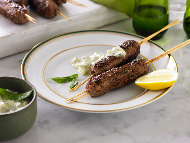 Lamb Mince Skewers with Cucumber Salsa
