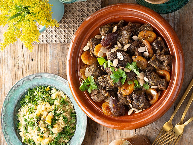Amina Elshafei's Lamb, date and apricot tagine with herbed couscous