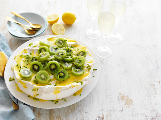 Classic Pavlova with Lemon Curd and Kiwi Fruit