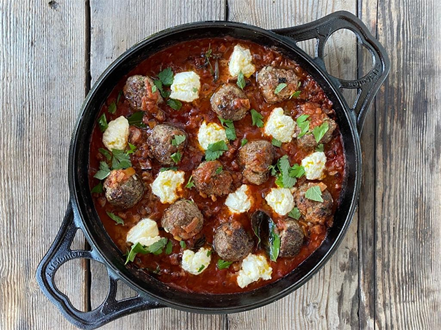 Homestyle Lamb Meatballs with Pasta and Ricotta