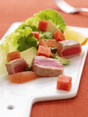 Salad of Seared Tuna with Seedless Watermelon, Avocado and Grapefruit
