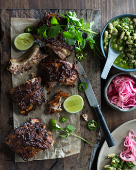 Mexican Pork Ribs with White Beans and Pickled Onions