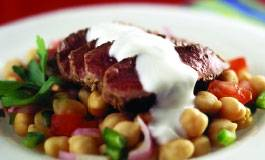 Middle Eastern Lamb on Chickpea and Tomato Salad