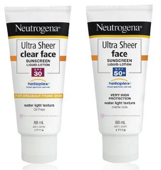 Neutrogena Ultra Sheer Clear Face SPF30 and Face SPF50+