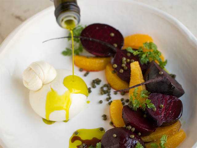 Burrata with Roasted Beetroot