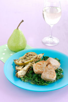 Pan Fried Pears Pork Medallions & Worked Spinach