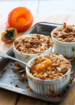 Persimmon and Amaretti Crumble with Mascarpone and Aged Balsamic