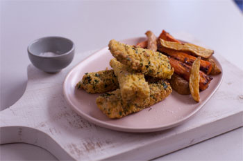 Polenta Macadamia Fish Goujons with Paprika Home-Cut Chips