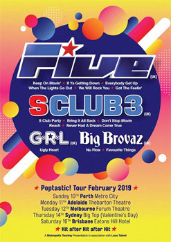 FIVE + Special Guest S Club 3, Big Brovaz and G.R.L.