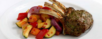 Chilli, Garlic and Rosemary Lamb Racks with Spicy Vegetables