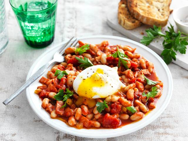 Smoky Baked Beans with Poached Eggs