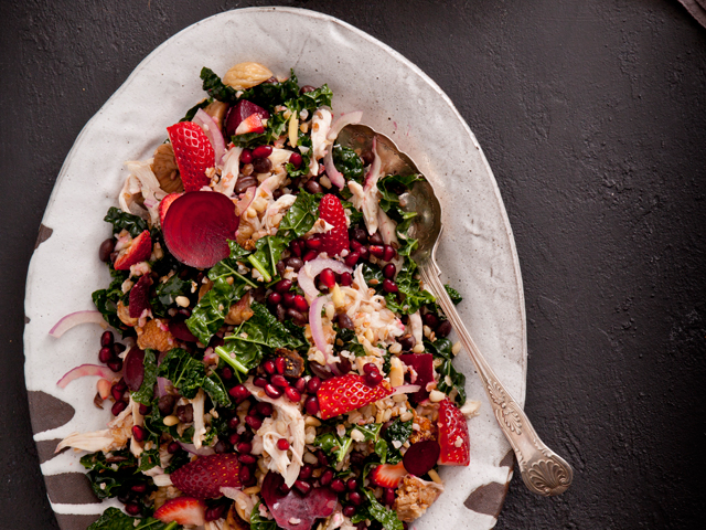 Warm Strawberry and Beetroot Salad with Grains and Greens
