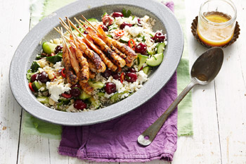 Summer Rice Salad with Barbecue Prawns