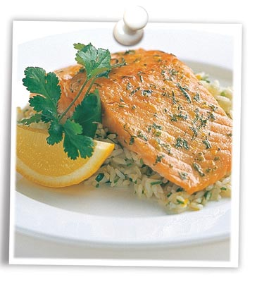 Coriander Tasmanian Atlantic Salmon with Lemon Pilau Rice