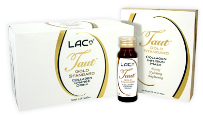 The Taut Gold Standard Collagen Infusion Mask and Orange Drink