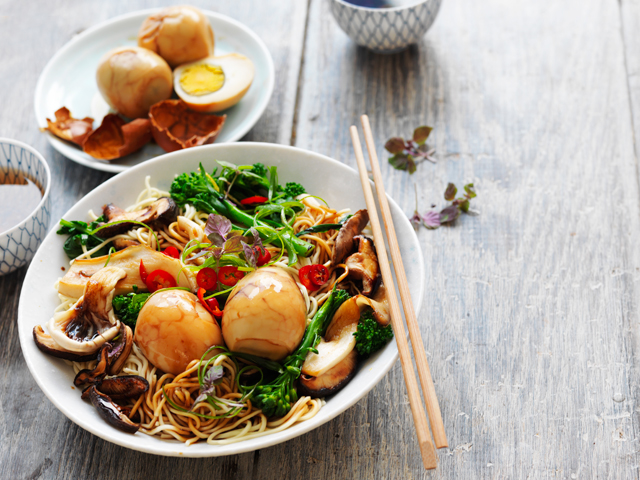 Tea Eggs with Asian Noodles