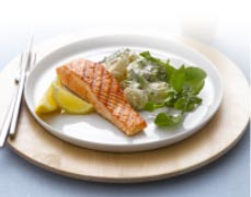 BBQ Tasmanian Atlantic Salmon Steak with Rocket and Potato Salad