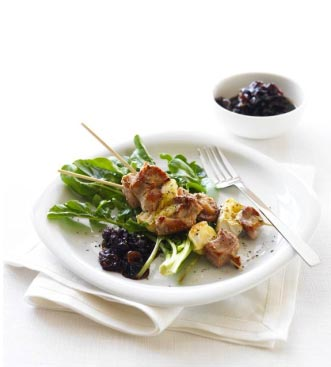 Turkey and Havarti Cheese Kebabs with Cranberry Chutney