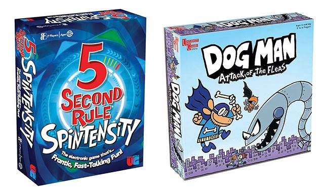 5 Second Rule Spintensity Board Game &Dog Man Attack of the Fleas